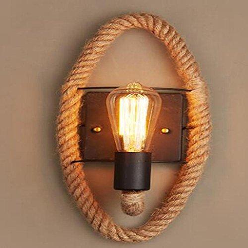 HY Lámpara de pared de cuerda de cáñamo luces de pasillo país americano escaleras de balcón retro lámpara de noche...
