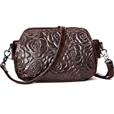Women Bag Crossbody Purse Rose Leather Messenger Shoulder Bags Coffee