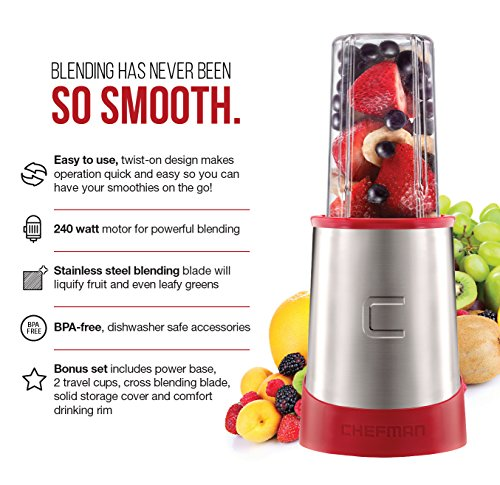 Chefman Ultimate Personal Smoothie Blender, Single Serve, Stainless Steel Blending Blade, 2 Travel Cups with Lids, Solid Storage Cover and Comfort Drinking Rim, 6 Piece - RJ28-6-SS-Red by Chefman (Image #1)'