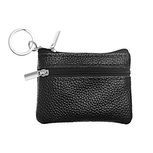 BCP Men's Soft Genuine Leather Zipper Coin Pouch Purse Change Wallet with Key Ring (Black) - Mini Coin Bag