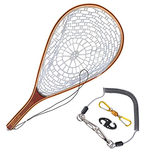 anding Trout Net Catch and Release Net - Wooden Frame with Soft Rubber Mesh ()