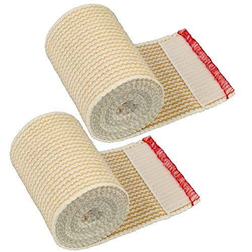 Cotton Elastic Bandage Wrap First Aid Kit Gauze For Knee Hook loop 4/'/' x 5 Yards