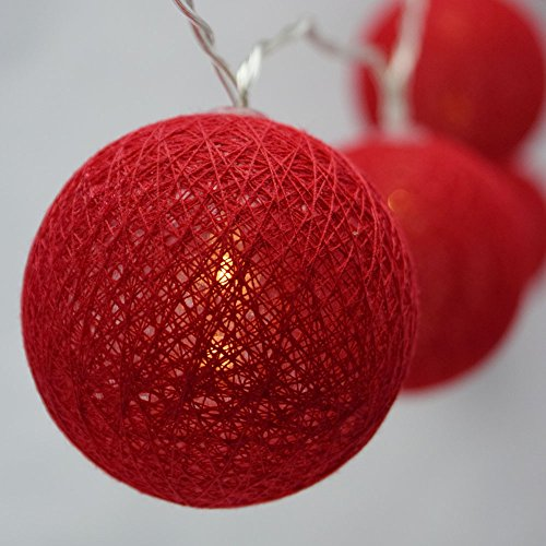 Price comparison product image Moonbright 10 LED Red Round Texture Cotton Ball String Light,  5.5 FT,  Battery Operated by PaperLanternStore