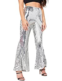 Womens Glitter Sequin High Waisted Stretchy Bell Bottom Flared Pants