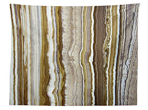 Carnival Onyx (vipsung Apartment Decor Tablecloth Onyx Marble Rock Themed Vertical Lines and Blurry Stripes in Earth Color Dining Room Kitchen Rectangular Table Cover Mustard Brown)
