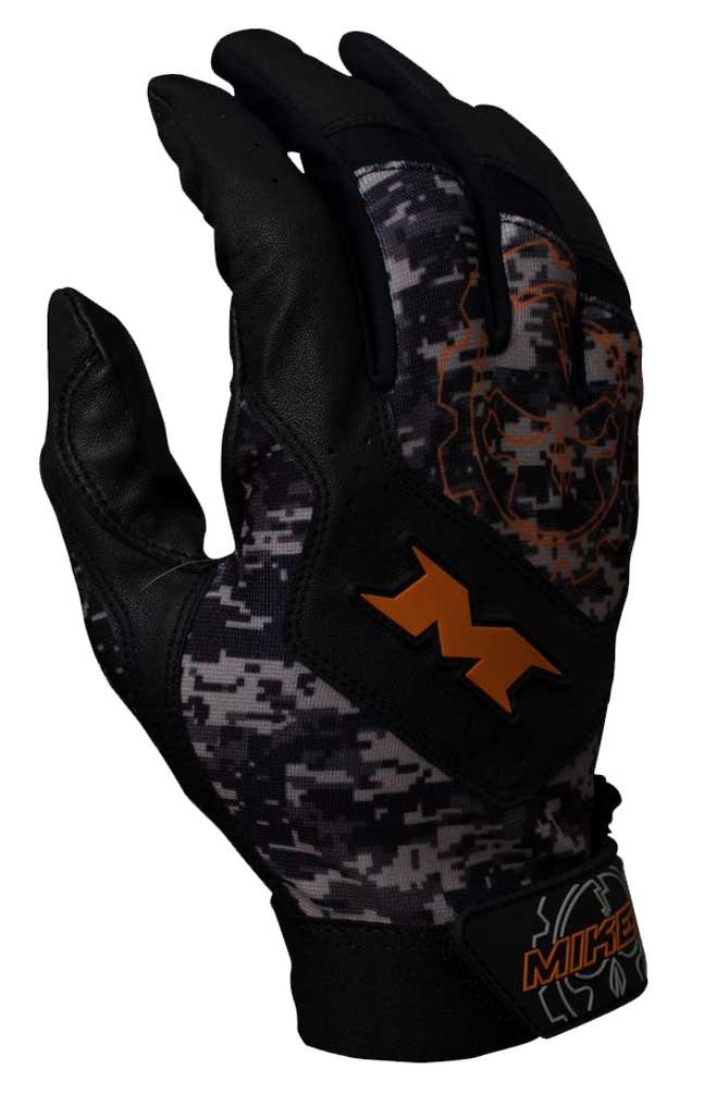 Miken Pro大人用野球/ソフトボールバッティング手袋creoraスパンデックス。mikpro B01BI59NR6 Medium|ブラック/オレンジ ブラック/オレンジ Medium