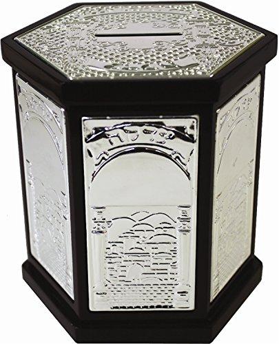 Wood-Silver-Plated-Hexagon-Tzedakah-Box
