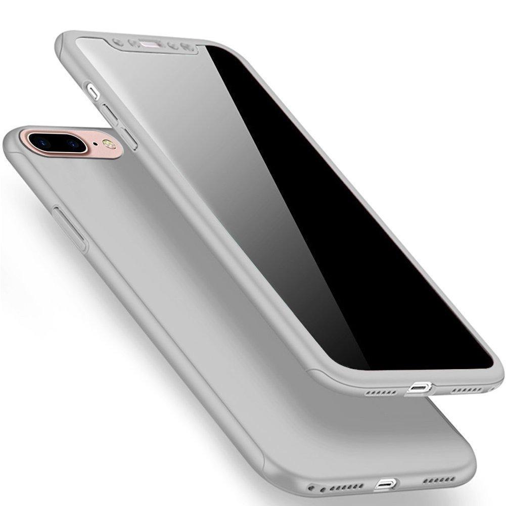 Funda iPhone 7 plus Case iPhone 8 plus,SaKuLa iPhone 7/8 plus Carcasa de Cuerpo Completo con Pantalla de Vidrio Templado, 360° Protección [Thin Fit ] Ultra Fina Rígida delgada Caso Front + Back Protección Superficie Mate con Revestimiento Antideslizante Pr