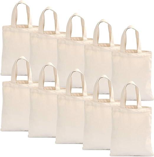 YOTINO 22 x 26 cm bolsa de algodón bolsa de yute bolsa de farmacia natural sin imprimir bolsa de transporte bolsa bolsa de regalo bolsa de compras para medicamentos(natural, 10 piezas): Amazon.es: