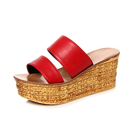 Sandals Women's Slippers Comfort Club Shoes Spring Summer Dress Casual Wedge Heel Black Red White Stylish/comfortable (Color : White, Size : EU37/UK4-4.5/CN37) Red