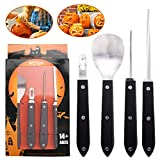 Pumpkin Carving Kit, Heavy Duty Stainless Steel Pumpkin Carving Tools Set for Halloween Jack-O-Lantern Sculpting (4Pcs Set)
