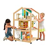 KidKraft So Stylish Mansion Wooden Mid-Century Dollhouse with EZ Kraft Assembly, Open-Concept, Wheeled Base and 42 Accessories, Gift for Ages 3+