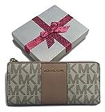 MICHAEL Michael Kors Jet Set LG Three Quarter Zip Wallet (Vanilla/Ballet Center Stripe)