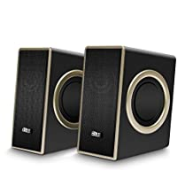 USB Speakers, ELEGIANT USB Powered Computer Speakers, Stereo Sound with 4 Single Bass Diaphragms and 3.5mm Audio Jack for PC, Laptops, Tablets, Smartphones, MP3, MP4 and More