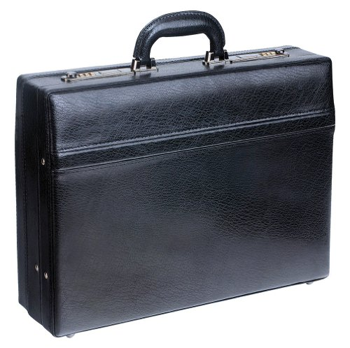 Mancini Leather Goods 1'' Expandable Attaché Case (Black) by Mancini Leather Goods
