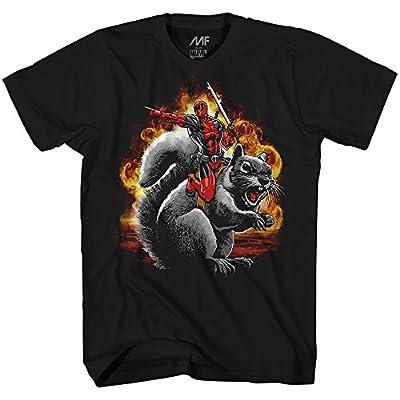 Marvel Deadpool Squirrel Wrangler Funny Adult Men's Graphic T-Shirt