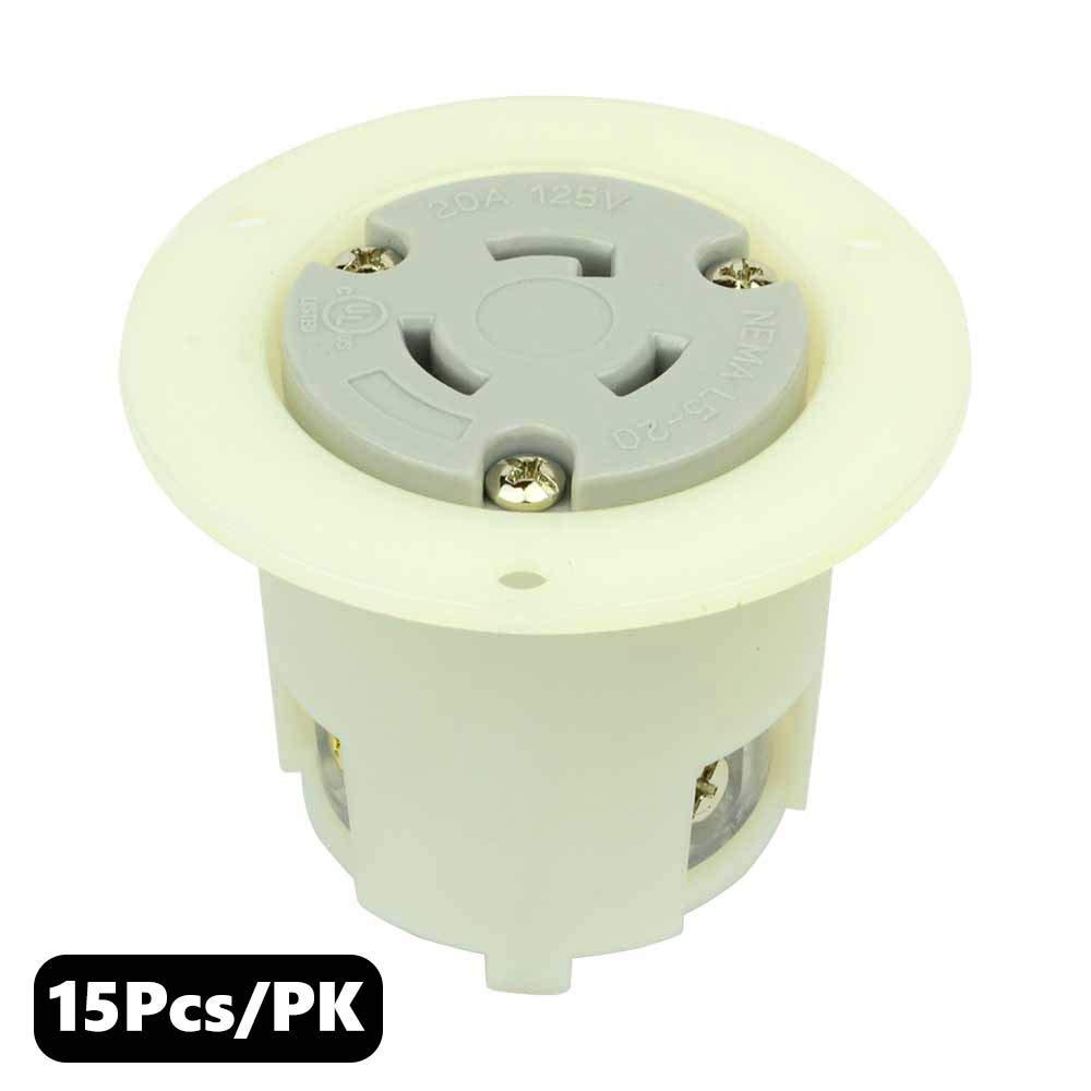 Superior Electric YGF036F Twist Lock Flange Receptacle 3 Wire, 20 Amps, 125V, NEMA L5-20R -5PK (15 Pack)