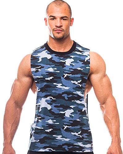 Iwearit Camoflage Muscle Cut Workout Crew Neck (M101-M-Blue) with Open Sides
