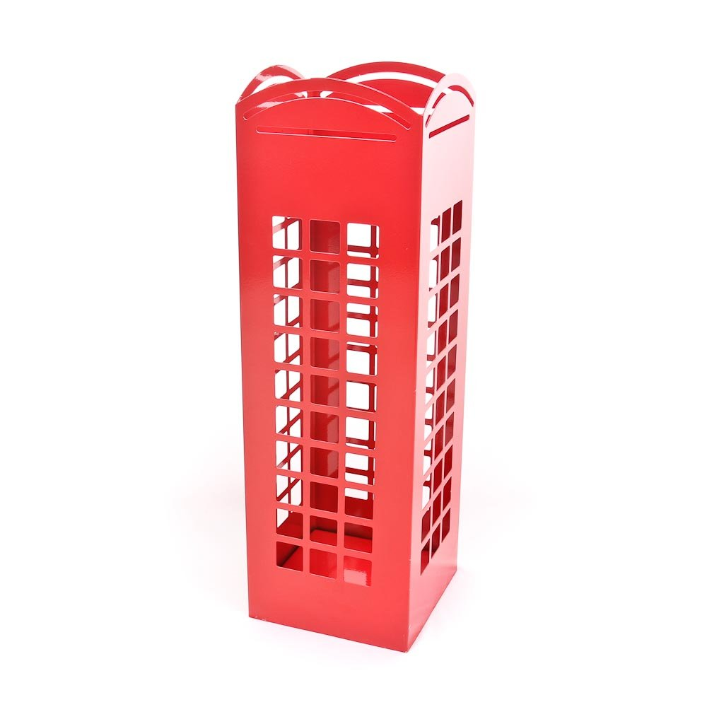 CKB LTD RED London Phone Box Umbrella Holder Traditonal English Phonebox - Metal Floor Rack Free Standing also for Canes/Walking Sticks