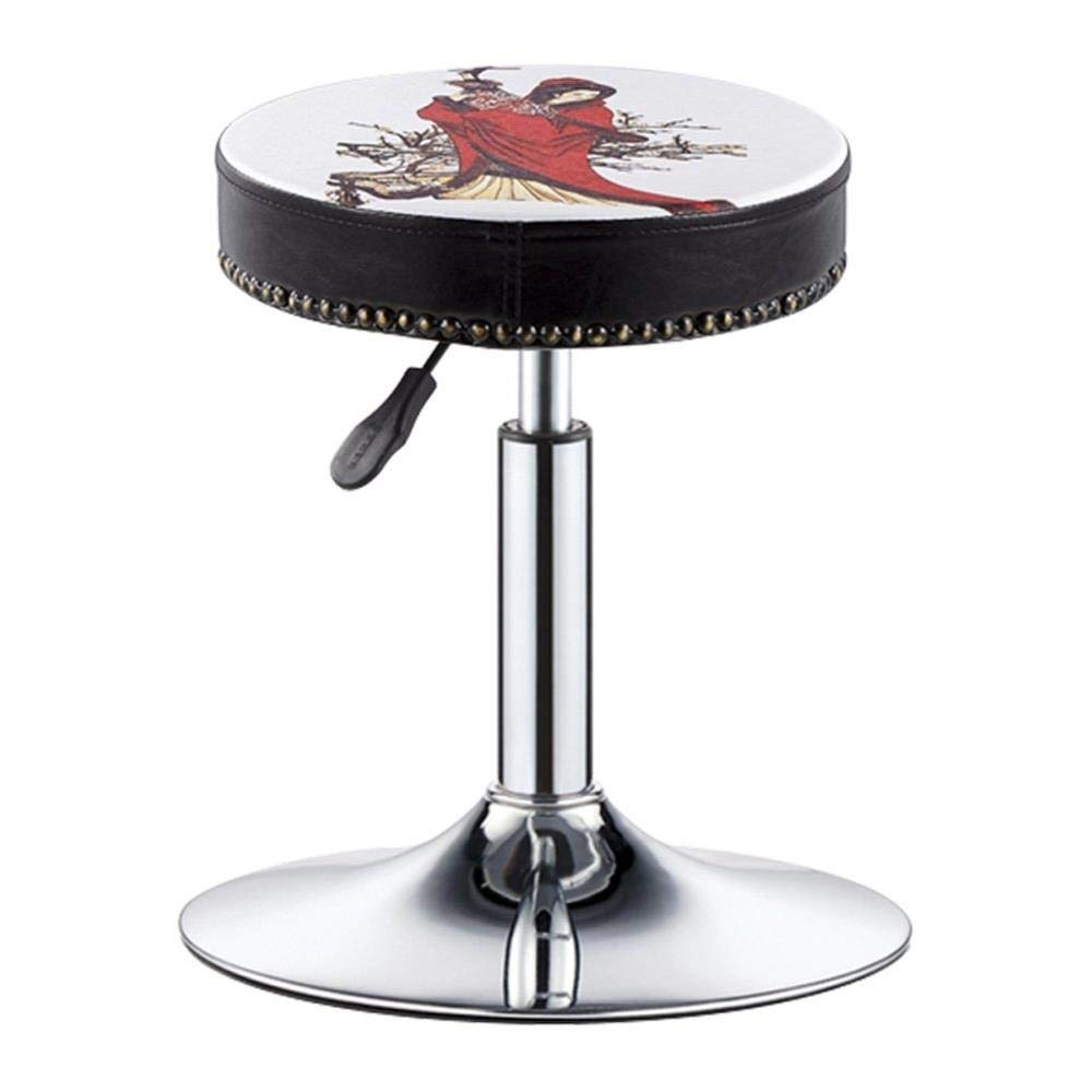 Style-1 FENGFAN Round Swivel Breakfast Bar Stool,Extra Thick 10cm Padding Height Adjustable PU Leather Chrome (color   Style-1)