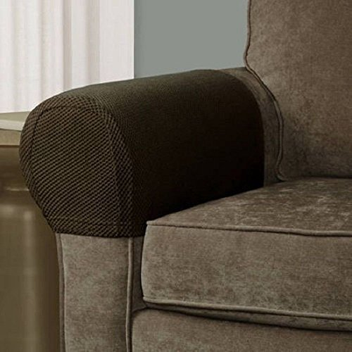 Arm 2 Recliner (Pixel Stretch Fabric Furniture Armrest Cover, Set of 2, Costa Brown)