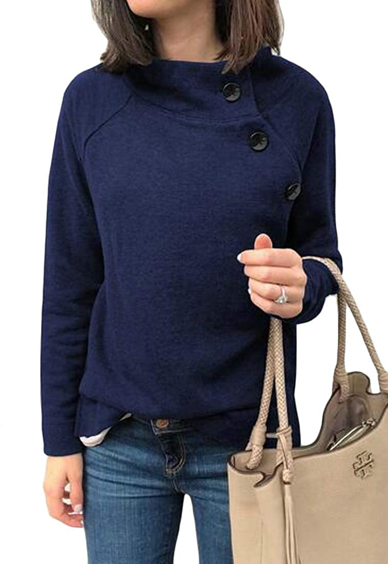 BU2H Women Solid Loose Fit Long Sleeve Button Fall Winter Pullover Sweatshirt