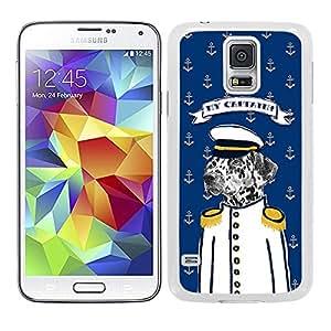 Funda carcasa para Samsung Galaxy S5 diseño dibujo perro marinero my captain borde blanco