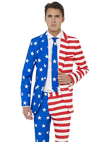 Suitmeister 4th of July Suits with USA Flag Colors & Prints  Pants, Jacket, Tie & Free Bow-tie