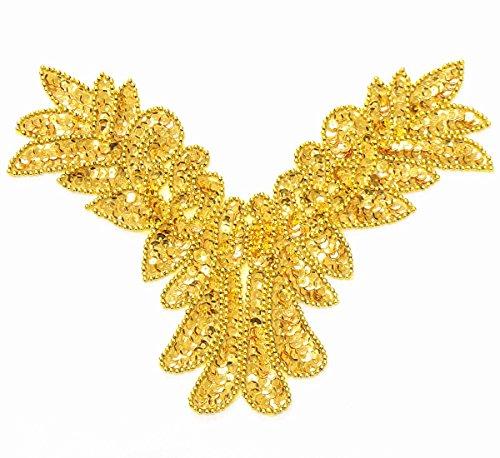 スパンコールモチーフ ワッペン ゴールド 約26cm バトン 新体操 衣装 ダンス フィギア