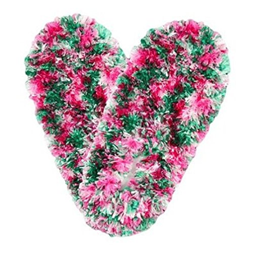Fuzzy Footies Green, Pink and White