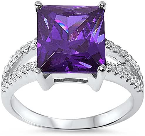 12x10 Radiant Cut Simulated Amethyst & Cz .925 Sterling Silver Ring Sizes 5-10