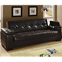 Coaster Brown Vinyl Sofa Bed | Cup Holders and Storage in Arm Rests - Transitional