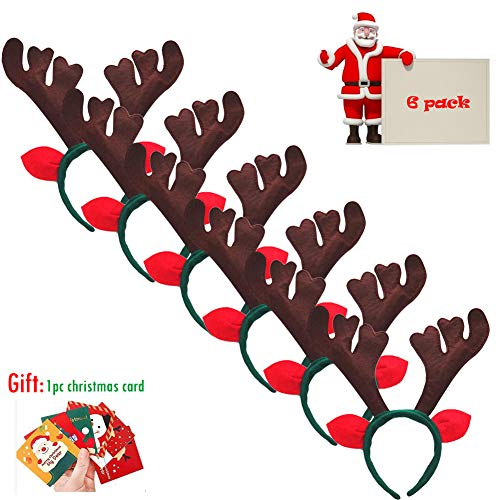 (The B-Style TB Christmas Headband Holiday Party Decoration Reindeer Antler Headband Pack of 6 (D-Reindeer) )