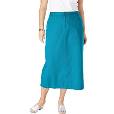931dae36c6f1e Jessica London Women s Plus Size Classic Cotton Denim Long Skirt - Antique  Turq
