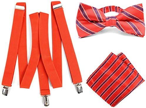 ボウタイ & ポケットチーフ & サスペンダー セット レッド ストライプ scb00031