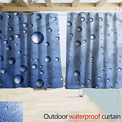 MaryMunger Balcony Curtains Blue Close Up Raindrops Aquatic Rod Pocket Energy Efficient Thermal Insulated W55x45L Inches -