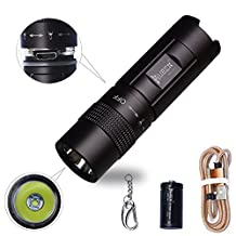 WUBEN E346 Mini Flashlight,Rechargeable,Zoomable,Pocket-Sized LED Torch,Bright 300 Lumens CREE LED,IPX8 Water Resistant,2 Modes High/Low for Indoors and Outdoors (Camping, Hiking, Cycling and Emergency Use) Black