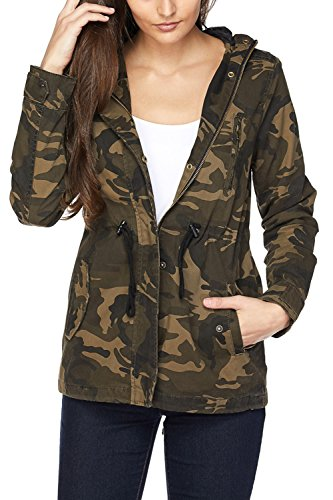 - FASHION BOOMY Womens Zip Up Military Anorak Jacket W/Hood (Small, CAMO_2)