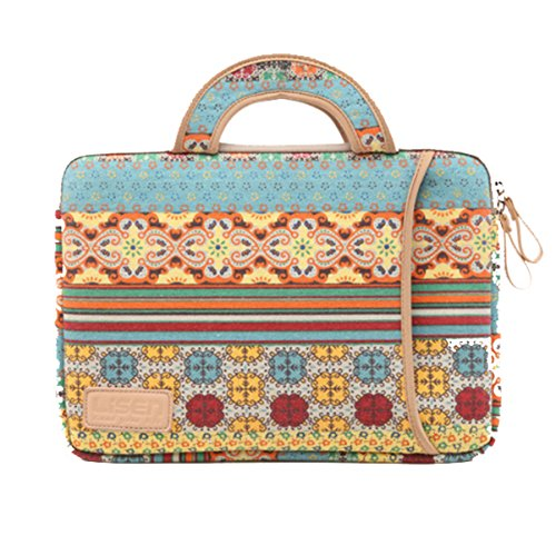 Price comparison product image ai-Do Laptop Sleeve Canvas Fabric portable Office Tote Briefcase Carry Case Notebook Shoulder Bag Ethnic stylish (15)
