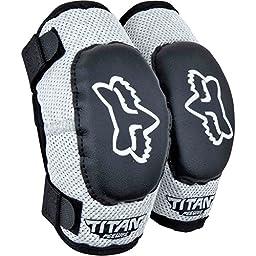 Fox Racing PeeWee Titan Adult Elbow Guard MotoX Motorcycle Body Armor - Black/Silver / PeeWee (ages 4-7)