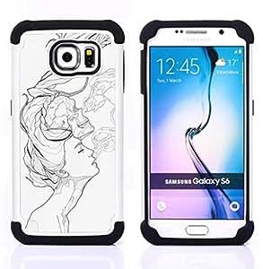 GIFT CHOICE / Defensor Cubierta de protección completa Flexible TPU Silicona + Duro PC Estuche protector Cáscara Funda Caso / Combo Case for Samsung Galaxy S6 SM-G920 // Pop Art White //