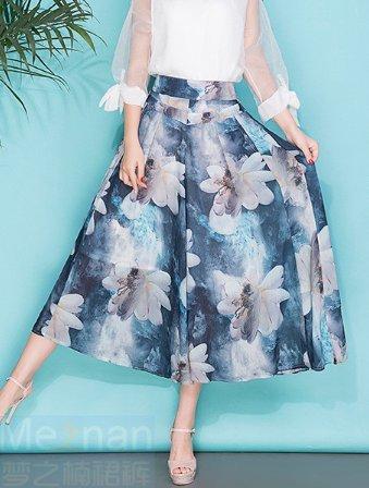 Las mujeres imprimieron los pantalones anchos de la pierna los pantalones flojos de la falda de la sección delgada de la sección del verano pantalones flojos de la marea G