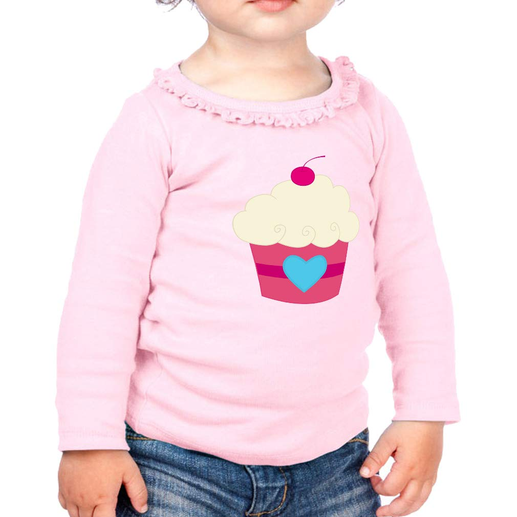 Dark Pink White Cherry Cupcake 2 Cotton Toddler Long Sleeve Ruffle Shirt Top