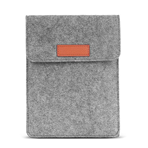 MoKo 6 Inch Kindle Sleeve Case Fits for All-New Kindle 10th Generation 2019/Kindle Paperwhite 2018, Protective Felt Cover Bag for Kindle Voyage/Kindle (8th Gen)/Kindle Oasis 6' E-Reader, Light Gray