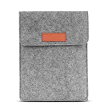 MoKo 6 Inch Felt Sleeve Bag, Portable Carrying Protective Case Cover Pouch, Fits for Kobo Touch 2.0, Kobo Glo HD, Tolino Shine 2HD, Tolino Vision 3HD E-Book E-Reader, Light GRAY