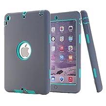 iPad mini 2 case, NOKEA Shockproof [ Impact Resistant] 3 Layer Anti-slip, Prevent scratch, Hybrid PC+ Silicone Hard Defender Case for Apple iPad Mini 1 2 3 (Grey Green)