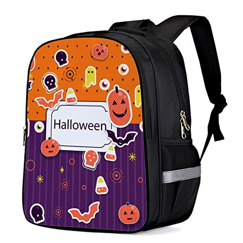 Small School Backpack for Kids/Kindergarten Halloween Cartoon Pumpkin Eyeball and Bats 3D Printed Stylish Laptop Book Bag Lightweight Lunch Bag Daypack for Boys and Girls Arts Language -