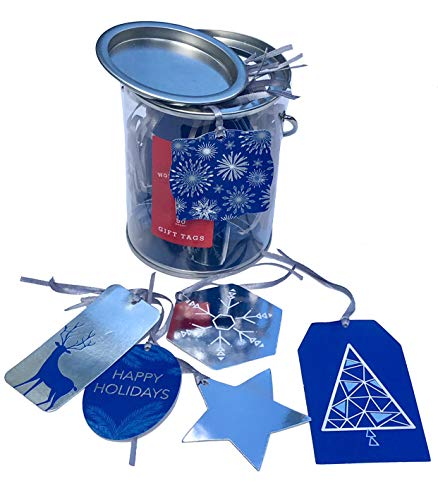 Wondershop Hanukkah Assorted Gift Tags in a Can, Blue/Silver Foil, 50 ct