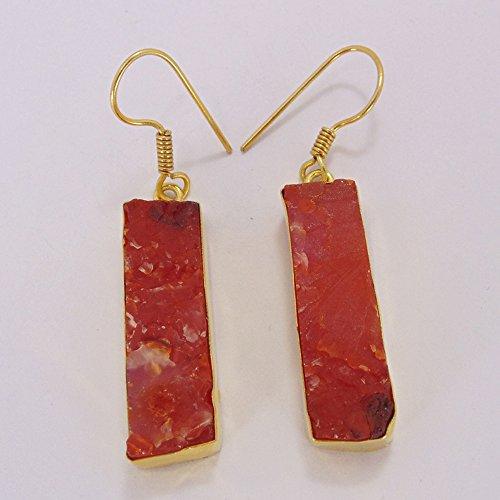 Handmade 18k Gold Vermeil Red Carnelian Gemstone One-of-a-Kind Earrings