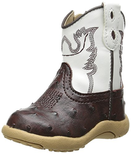 Roper Cowbaby Ostrich Western Boot (Infant/Toddler),Brown/White,3 M US Infant